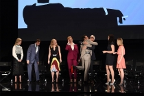 "The cast of Mad Men say goodbye onstage at ""A Farewell to Mad Men,"" May 17, 2015 at the Montalbán Theater in Hollywood, California."