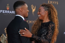 Jessie T. Usher and Erica Ash at the L.A. Area Emmy Awards presented at the Television Academy's Wolf Theatre at the Saban Media Center on Saturday, July 22, 2017, in North Hollywood, California.