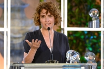 Jill Soloway accepts the award for Transparent at the awards presentation at the Eighth Annual Television Academy Honors, May 27 at the Montage Beverly Hills.