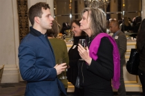 Joe Carroll and Pamela Guest at the New York Networking Night Out, November 13, 2015 at the St. Regis in New York City.