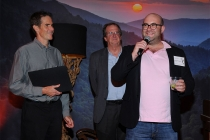 Chip Johannessen, Pete Hammond and Charlie Sanders at the Writers Nominee Reception in North Hollywood, California.