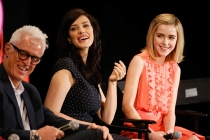 "John Slattery, Jessica Paré, and Kiernan Shipka onstage at ""A Farewell to Mad Men,"" May 17, 2015 at the Montalbán Theater in Hollywood, California."