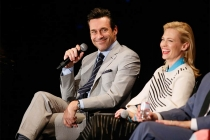"Jon Hamm and January Jones onstage at ""A Farewell to Mad Men,"" May 17, 2015 at the Montalbán Theater in Hollywood, California."