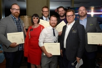 Television Academy governors Lynda Kahn and Eric Anderson present certificates to the Cosmos team at the Motion and Title Design Nominee Reception in West Hollywood, California.
