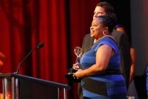 Karlese Mumfors-Campbell accepts an award at the 68th Los Angeles Area Emmys, July 23, 2016, at the Saban Media Center, North Hollywood, California.