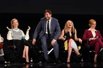 "Vincent Kartheiser entertains fellow cast members January Jones, Elisabeth Moss, and Christina Hendricks onstage at ""A Farewell to Mad Men,"" May 17, 2015 at the Montalbán Theater in Hollywood, California."