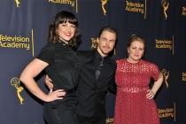 """Television Academy governors Kathryn Burns, Derek Hough, and Television Academy governor Mandy Moore at """"Whose Dance Is It Anyway?"""" February 16, 2017, at the Saban Media Center in North Nollywood, California."""