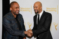 Kenya Barris greets Common on the red carpet at An Evening with Norman Lear at the Montalban Theater in Hollywood.