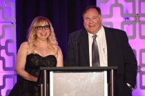 Kirsten Vangsness and Barry Zegel, Engineering Emmy Awards Committee Chair, at the 69th Engineering Emmy Awards at the Loews Hollywood Hotel on Wednesday, October 25, 2017 in Hollywood, California.