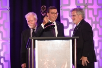 Larry Thorpe, Elliot Peck, and Tim Smith accept the award for Canon 4k Zoom Lenses at the 69th Engineering Emmy Awards at the Loews Hollywood Hotel on Wednesday, October 25, 2017 in Hollywood, California.