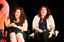 "Casting directors Laura Schiff and Carrie Audino onstage at ""A Farewell to Mad Men,"" May 17, 2015 at the Montalbán Theater in Hollywood, California."