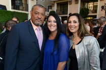 Laurence Fishburne, Katrina Gilbert and Lucia Gervino enjoy the reception at the Eighth Annual Television Academy Honors, May 27 at the Montage Beverly Hills.