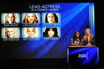Uzo Aduba and Cat Deeley announce the nominees for Lead Actress in a Comedy Series at the nominations announcement for the 67th Emmy Awards  July 16, 2015 at the Pacific Design Center in Los Angeles, CA.