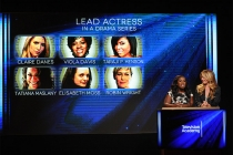 Uzo Aduba and Cat Deeley announce the nominees for Lead Actress in a Drama Series at the nominations announcement for the 67th Emmy Awards  July 16, 2015 at the Pacific Design Center in Los Angeles, CA.