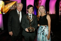 Television Academy senior vice president of awards John Leverence, show host Josh Brener, and chair of the Engineering Emmys committee Wendy Aylesworth at the 2015 Engineering Emmys at the Loews Hotel in Los Angeles, October 28, 2015.