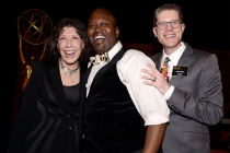 Television Academy governor Lily Tomlin, Tituss Burgess, and Television Academy governor Bob Bergen at the Performers Nominee Reception September 19, 2015, at the Pacific Design Center in Los Angeles, California.