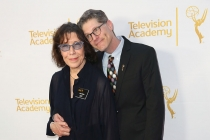 Lily Tomlin and Bob Bergen, governors of the Television Academy Peformers Peer Group, arrive at the Montage Beverly Hills for their peers' Primetime Emmy nominee reception.