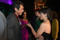Lou Diamond Phillips and Constance Zimmer at the Performers Peer Group Celebration, August 22, 2016, at the Montage Beverly Hills in Beverly Hills, California.