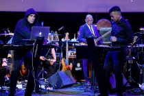 Composer Mac Quayle, Television Academy governor Rickey Minor, and Rendra Zawawi perform at WORDS + MUSIC, presented Thursday, June 29, 2017 at the Television Academy's Wolf Theatre at the Saban Media Center in North Hollywood, California.