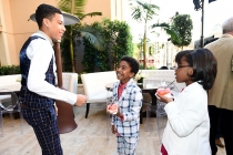 Marcus Scribner, Miles Brown, and Marsai Martin of black-ish enjoy the reception at the Eighth Annual Television Academy Honors, May 27 at the Montage Beverly Hills.