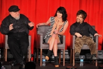 George R. R. Martin, Lena Headey and Peter Dinklage onstage at An Evening with Game of Thrones.