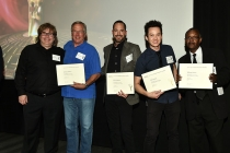 Nominees Michael Bernard, Michael Abbott, Brian Riordan, Ryan Young, and Sterling Cross at the Sound Editing and Sound Mixing nominee reception, September 8, 2016 at the Saban Media Center in North Hollywood, California.