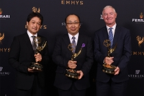 Mikio Kita, Hiroshi Kiriyama, and John Studdert of Sony with the Farnsworth award at the 69th Engineering Emmy Awards at the Loews Hollywood Hotel on Wednesday, October 25, 2017 in Hollywood, California.