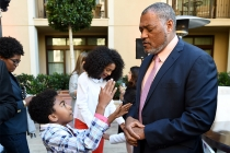 Miles Brown and Laurence Fishburne of black-ish enjoy the reception at the Eighth Annual Television Academy Honors, May 27 at the Montage Beverly Hills.