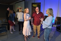 Elisabeth Moss and Bruce Miller at The Handmaid's Tale: From Script to Screen at the Wolf Theatre at the Saban Media Center in North Hollywood, California.