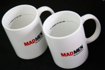 "Gift mugs for attendees at ""A Farewell to Mad Men,"" May 17, 2015 at the Montalbán Theater in Hollywood, California."