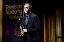 Nate Fenwick-Smith accepts an award at the 36th College Television Awards at the Skirball Cultural Center in Los Angeles, California, April 23, 2015.