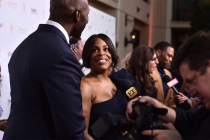Niecy Nash, Mayim Bialik, and Anthony Anderson talk to the press on the red carpet at the Performers Peer Group Celebration August 24 at the Montage in Beverly Hills, California.