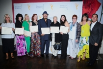Nominees with their certificates at The 9th Annual Outstanding Art of Television Costume Design Exhibition at the FIDM Museum & Galleries, Saturday, July 18, 2015, in Los Angeles.