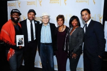 Baratunde Thurston, D-Nice, Norman Lear, Marla Gibbs, Regina King and Toure on the red carpet at An Evening with Norman Lear at the Montalban Theater in Hollywood.