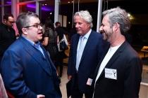 Patton Oswalt, Larry Karaszewski, and Scott Alexander at the writers nominee reception, September 14, 2016, at the Saban Media Center in North Hollywood, California.