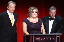 L. A. Area governors Paul Button and Beatriz Gomez and Vice Chair, L.A. Area, Academy Executive Committee Mitch Waldow at the L.A. Area Emmy Awards presented at the Television Academy's Wolf Theatre at the Saban Media Center on Saturday, July 22, 2017, in