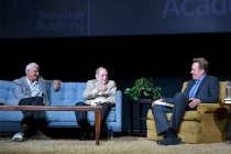 Peter Bonerz, Bob Newhart, and Conan O'Brien at The Rise of the Cerebral Comedy: A Conversation with Bob Newhart, presented Tuesday, Aug. 8, 2017, at the Television Academy's Wolf Theater at the Saban Media Center in North Hollywood, California.