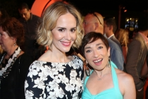 Sarah Paulson and American Horror Story co-star Naomi Grossman at the Performers Peer Group Celebration August 24 at the Montage in Beverly Hills, California.