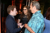 Beau Bridges, Seth Green, and Mayim Bialik chat at the Performers Peer Group Celebration August 24 at the Montage in Beverly Hills, California.