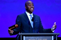 Kevin Frazier presents an award on stage at the 38th College Television Awards presented by the Television Academy Foundation at the Saban Media Center on Wednesday, May 24, 2017, in the NoHo Arts District in Los Angeles.