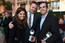 Maria Shriver, Andy Tennant, and Bob Woodruff with their awards at the awards presentation at the Eighth Annual Television Academy Honors, May 27 at the Montage Beverly Hills.