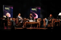 The panel onstage at An Evening with Norman Lear at the Montalban Theater in Hollywood.