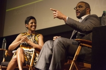 """Tamron Hall and Tyler Perry at the Television Academy's first member event in Atlanta, """"A Conversation with Tyler Perry,"""" at the Woodruff Arts Center on Thursday, May 4, 2017."""