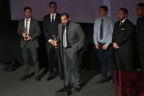 Thanasis Petrakis accepts an award at the L.A. Area Emmy Awards presented at the Television Academy's Wolf Theatre at the Saban Media Center on Saturday, July 22, 2017, in North Hollywood, California.