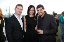 Todd Christopher, Allison Binder and Slade Abisror at the Executives Emmy Celebration in West Hollywood, California.