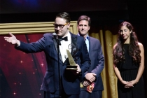 Trevor Worley accepts an award at the 36th College Television Awards at the Skirball Cultural Center in Los Angeles, California, April 23, 2015.