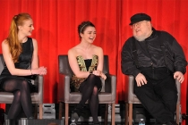 Sophie Turner, Maisie Williams and Game of Thrones author George R.R. Martin onstage at An Evening with Game of Thrones.