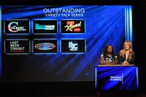 Uzo Aduba and Cat Deeley announce the nominees for Outstanding Variety Talk Series at the nominations announcement for the 67th Emmy Awards  July 16, 2015 at the Pacific Design Center in Los Angeles, CA.
