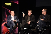 "Creator/Producer Matthew Weiner, production designer Dan Bishop, and director/DP Christopher Manley on the panel at ""A Farewell to Mad Men,"" May 17, 2015 at the Montalbán Theater in Hollywood, California."