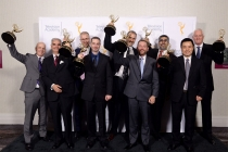 The winners of the 2015 Engineering Emmys at the Loews Hotel in Los Angeles, October 28, 2015.
